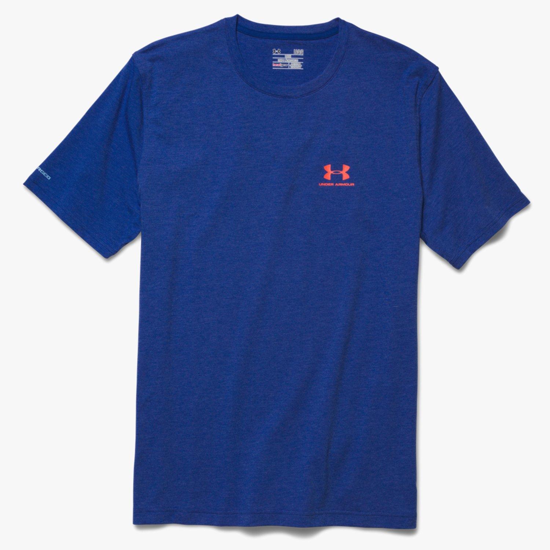 Under Armour - เสื้อ Men's UA Sportstyle Left Chest Logo สีน้ำเงิน/โลโก้ส้ม (ไซต์ SM อก 34-36 นิ้ว)