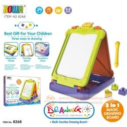 กระดานวาดรูป BOWA แบบสี Drawing board magic 3 in 1 แบบใหม่ พร้อมอุปกรณ์ครบครัน