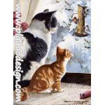 กระดาษสาพิมพ์ลาย สำหรับทำงาน เดคูพาจ Decoupage แนวภาำพ แมว2 วัย 2 สี นั่งมองบรรดานกน้อยเล่นหิมะกันอยู่ที่นอกบ้าน A5