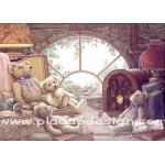 กระดาษสาพิมพ์ลาย สำหรับทำงาน เดคูพาจ Decoupage แนวภาพ น้องหมีนั่งชมวิวในบ้าน ผ่านกระจกทรงโค้ง A5