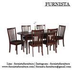 โต๊ะอาหารรูปไข่+เก้าอี้ไม้จริง 6 ที่นั่ง พนักพิงกว้าง นั่งสบาย (FT-SET)