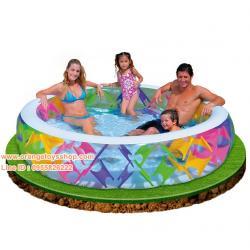 ( ขนาด 8 ฟุต ) INTEX ™สระว่ายน้ำเป่าลมขนาดครอบครัว แบบกลม ขนาด 229 * 56 เซนติเมตร **มีกันลื่น**