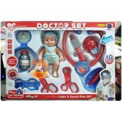 ( เครื่องมือหมอ ชุดหมอ ) ชุดกระเป๋าคุณหมอ อุปกรณ์ 10 ชิ้น พร้อมตุ๊กตาเด็ก