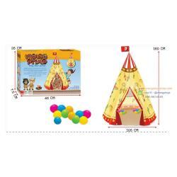 (บ้านบอลเด็ก) เต็นท์ บ้านบอล แบบโดม อินเดียนแดง พร้อมลูกบอลในกล่อง 12 ลูก