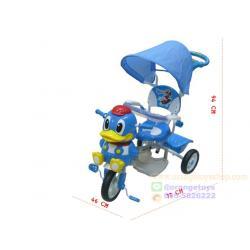 รถเข็นเด็ก + รถสามล้อถีบหน้าเป็ด มีเสียงเพลง เข็นบังคับทิศทางได้ **แบบไม่หุ้มโครง** มีสีฟ้า สีเขียว