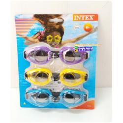 แว่นตาว่ายน้ำ สำหรับเด็กและผู้ใหญ่ 3+ แพ๊ก 3 ชิ้น คละสี INtex