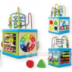 ของเล่นเด็ก กล่องกิจกรรมไม้ 6 เหลี่ยม 8 In 1 Activities Wooden box