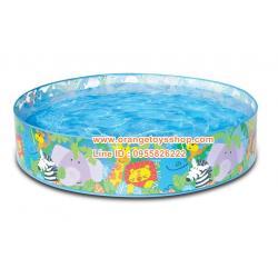 ( ขนาด 4 ฟุต ) Intex สระน้ำขอบตั้ง 4 ฟุต (122x25 cm.) intex 58474 ลายสวนสัตว์