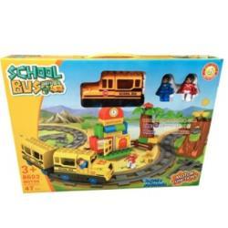 DIY BLOCK บล๊อก ชุดตัวต่อรถไฟ รถโรงเรียน รถราง School Bus แบบกล่อง 47 ชิ้น