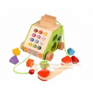 ของเล่นไม้ โทรศัพท์ของเล่นไม้ ล้อลากได้ พร้อมบล๊อกหยอด BLOCK