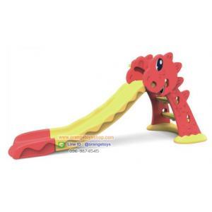 สไลด์เดอร์ ไดโนเสาร์ ขนาดกลาง พร้อมแป้นบาส สีเหลือง-แดง รับน้ำหนักได้ 25 กิโลกรัม