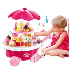 ชุดร้านขนม ร้านของหวาน ขายไอศรีม Sweet Shop Luxury Candy Cart ชุด 39 ชิ้น สีชมพู