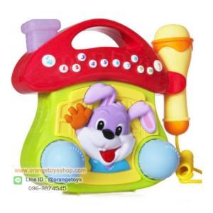 Huile toys microphone toy with mushroom ชุดคาราโอเกะรูปกระต่ายน้อยน่ารัก