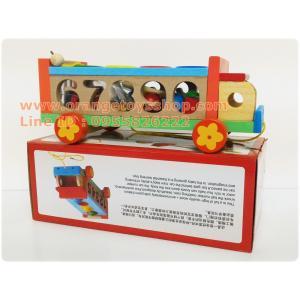 ของเล่นไม้ รถบัสไม้ล้อลาก + พร้อมบล๊อกหยอดตัวเลข (กล่อง)
