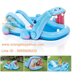 สวนน้ำเป่าลม ฮิปโป พร้อมสไลด์เดอร์ Hippo Children's inflatable pool Intex 57150NP
