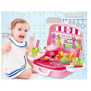 ชุดครัว พร้อมผัก ผลไม้ อุปกรณ์ครบชุด 008-915A สีชมพู Kitchen set