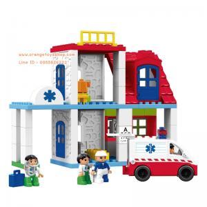 บล๊อก ชุดบล๊อกสร้างโรงพยาบาล พร้อมรถพยาบาล แบบกล่อง 60 ชิ้น **400230/HG1272**