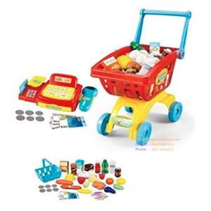 เครื่องเคชเชียร์ มาพร้อมรถเข็นและอุปกรณ์ 45 ชิ้น Supermarket Cashier & Shopping Trolley Role Play Set