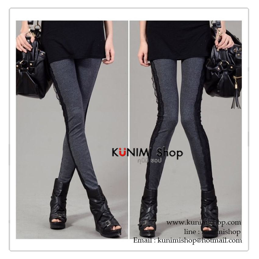LG040 กางเกงเลคกิ้งขายาว สีเทาเข้ม ประดับด้วยผ้าลูกไม้ที่ด้านข้างกางเกง เอวยางยืด กางเกงทรงสวยคะ