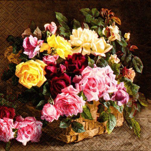 แนวภาพดอกไม้ ช่อดอกไม้บนโต๊ะ ภาพโทนสีน้ำตาลเข้ม เป็นภาพ 4 บล๊อค กระดาษแนพกิ้นสำหรับทำงาน เดคูพาจ Decoupage Paper Napkins ขนาด 33X33cm
