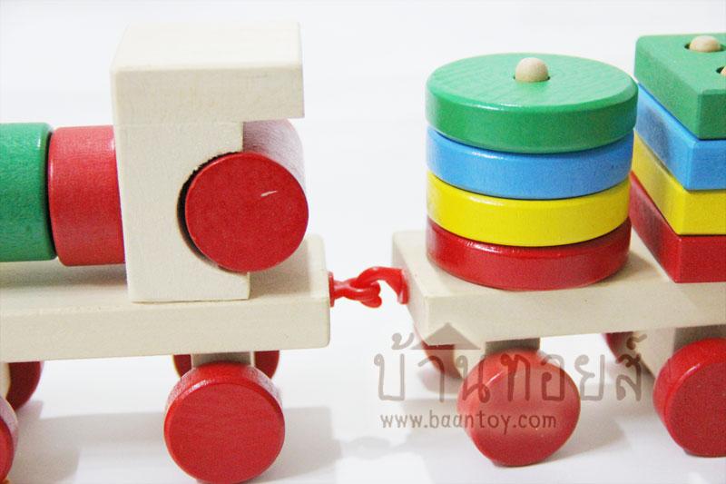 ของเล่นไม้สื่อการสอน รถไฟไม้สวมหลักรูปทรงเรขาคณิต บล็อกไม้สวมหลัก