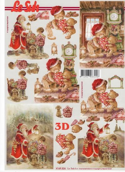 กระดาษ 3D สร้างลายนูน หมีน้อยมอบของขวํญ กับ แซนต้าแจกของขวัญเด็กน้อย มี 2 ภาพ ขนาด A4