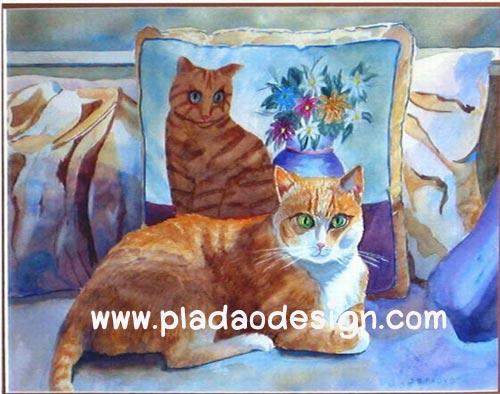 กระดาษสาพิมพ์ลาย สำหรับทำงาน เดคูพาจ Decoupage แนวภาพ น้องแมวขนทอง ต้นแบบภาพวาดหมอนอิงบนเก้าอี้
