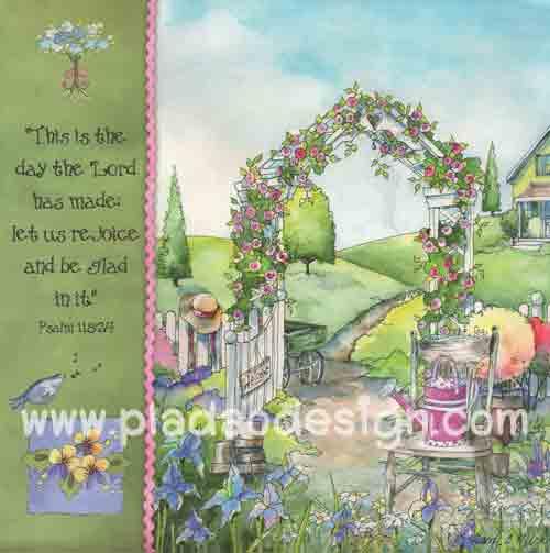 กระดาษอาร์ตพิมพ์ลาย สำหรับทำงาน เดคูพาจ Decoupage แนวภาำพ in the room ซุ้มดอกไม้ ประตูรั้วขาว ท่ามกลางสวนสวย ภาพสีหวานหวาน (ปลาดาวดีไซน์)
