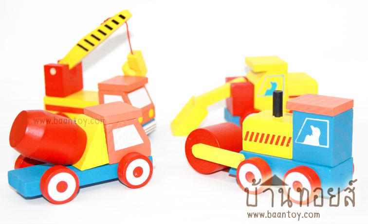 ของเล่นเด็กโมเดลรถไม้ชุดรถก่อสร้าง ของเล่นไม้เสริมพัมนาการ