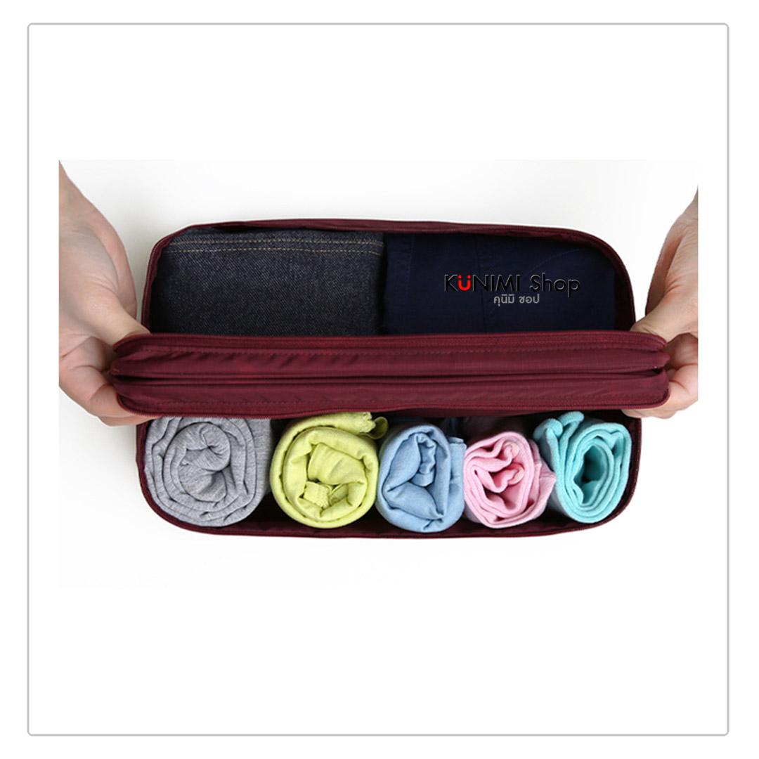 รหัสสินค้า GB071 กระเป๋าจัดเก็บสิ่งของ กระเป๋าใส่ชุดชั้นใน มีให้เลือกหลายสี สามารถเก็บกางเกงใน ถุงเท้า และของใช้อื่นๆ พกพาเดินทางท่องเที่ยว มีช่องใส่ของมากมาย แบ่งช่องเป็นระเบียบ หยิบใช้สะดวกขนาดกระทัดรัด มีหูหิ้วและซิบเปิด - ปิด วัสดุ : ผ้าไนล่อนกันน้ำ ยี่ห้อ: DINIWELL ขนาด 30 x 17 x 12.5 ซม.