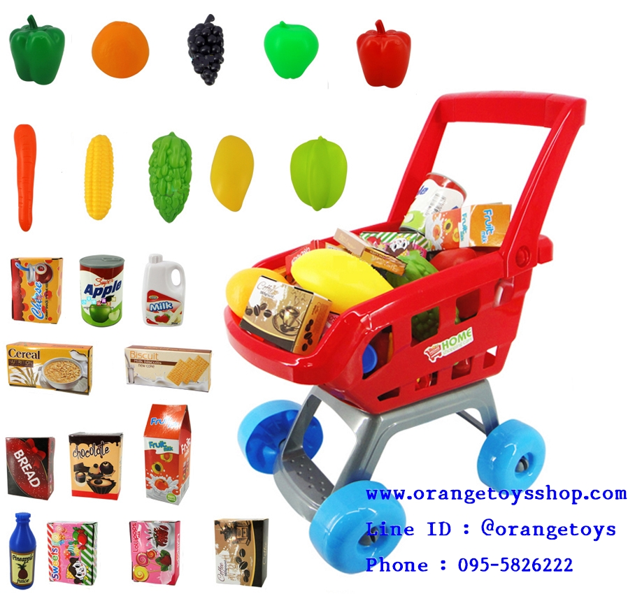 รถเข็น supermarket พร้อมผัก ผลไม้ ขนม 22 ชิ้น 668-06 สีแดง
