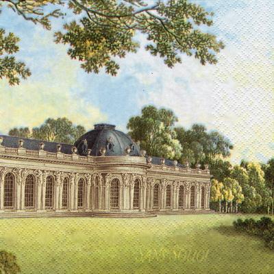 แนวภาพศิลปะ ภาพอาคารยุโรปย้อนยุค กับสวน เป็นภาพเต็มแผ่น กระดาษแนพกิ้นสำหรับทำงาน เดคูพาจ Decoupage Paper Napkins ขนาด 33X33cm