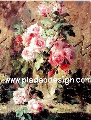 กระดาษอาร์ตพิมพ์ลาย art paper เป็นกระดาษสา สำหรับทำงาน เดคูพาจ Decoupage แนวภาพ ภาพวาดสีน้ำมันลายกุหลาบชมพู (ปลาดาวดีไซน์)