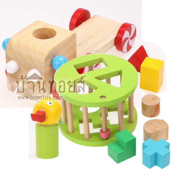 บล็อคไม้ เป็ดน้อยหยอดบล็อค ของเล่นไม้เสริมพัฒนาการสำหรับเด็ก