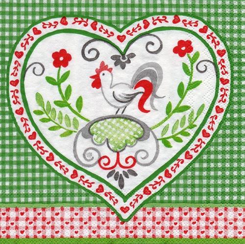 แนวภาพสัตว์ ลายเส้นลายไก่ในวงหัวใจ บนพื้นตารางเขียว เป็นกระดาษ 4 บล๊อค กระดาษแนพกิ้นสำหรับทำงาน เดคูพาจ Decoupage Paper Napkins ขนาด 33X33cm