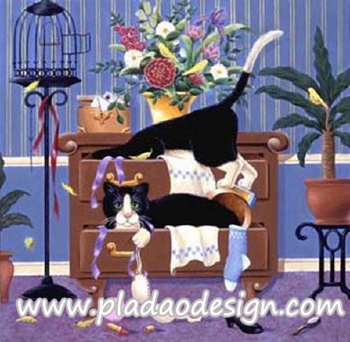 กระดาษสาพิมพ์ลาย สำหรับทำงาน เดคูพาจ Decoupage แนวภาพ 2 แมวดำจอมซน ค้นลิ้นชักใส่เสื้อผ้ากระจุย