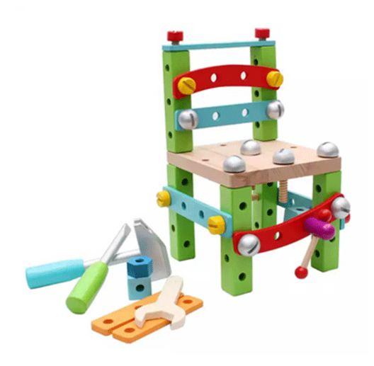 ของเล่นเสริมพัฒนาการ เก้าอี้ไม้ขันน๊อต