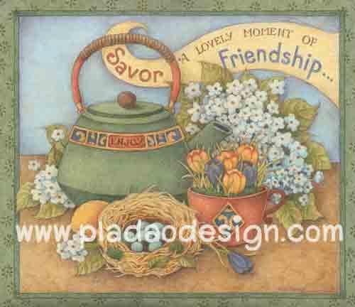 กระดาษอาร์ตพิมพ์ลาย สำหรับทำงาน เดคูพาจ Decoupage แนวภาพ lovely moment of friendship กาต้มน้ำโบราณาสีเขียว อยู่ข้างๆดอกไม้ สีหวานสวยมาก (ปลาดาวดีไซน์)