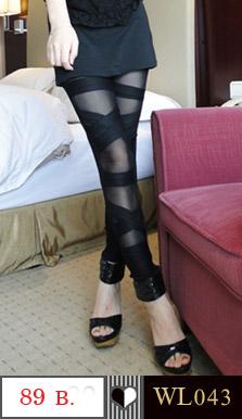 ถุงน่องแบบสวมเต็มตัว เปลื่อยเท้า ตัดแต่งลายเส้นไขว่กันไปมา สวยเซ็กซี่