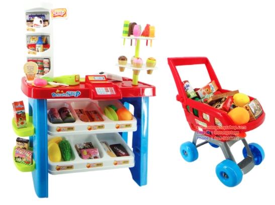 รถเข็น พร้อมเคาเตอร์ขายขนมหวาน คันใหญ่ พร้อมอุปกรณ์ 46 ชิ้น ***668-22*** Desserts Super market Play Set