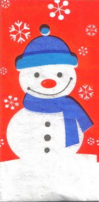 แนวภาพเทศกาล ตุ๊กตาหิมะบนพื้นสีแดง เป็นภาพ 8 บล๊อค กระดาษแนพคินสำหรับทำงาน เดคูพาจ Decoupage Paper Napkins ขนาด 21X22cm