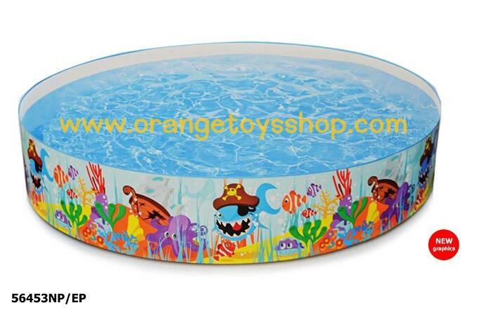 ( ขนาด 8 ฟุต ) สระว่ายน้ำ ขอบตั้ง ลายปลา ขนาด 2.44 เมตร (Intex 56453NP) สระน้ำขอบตั้ง