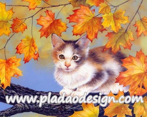 กระดาษสาพิมพ์ลาย สำหรับทำงาน เดคูพาจ Decoupage แนวภาำพ เจ้าแมวน้อยจอมซน ปีนขึ้นไปเล่นบนต้นเมเปิ้ล