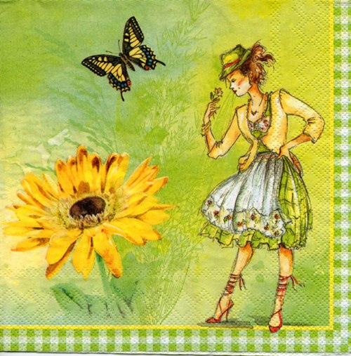 แนวภาพลายการ์ตูน เด็กสาว กับ ดอกไม้ และ ผีเสื้อ เป็นภาพโทนสีเหลือง เป็นภาพ 4 บล๊อค กระดาษแนพกิ้นสำหรับทำงาน เดคูพาจ Decoupage Paper Napkins ขนาด 33X33cm