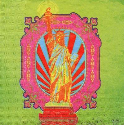แนวภาพศิลปะ สัญลักษณ์เทพีเสรีภาพ ในกรอบสีชมพู ภาพโทนสีเขียว เป็นภาพ 4 บล๊อค กระดาษแนพกิ้นสำหรับทำงาน เดคูพาจ Decoupage Paper Napkins ขนาด 33X33cm