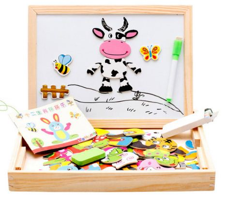 ของเล่นไม้ กล่องกระดาน 2 ด้าน พร้อมแม่เหล็กชุดสัตว์ 12 ราศี