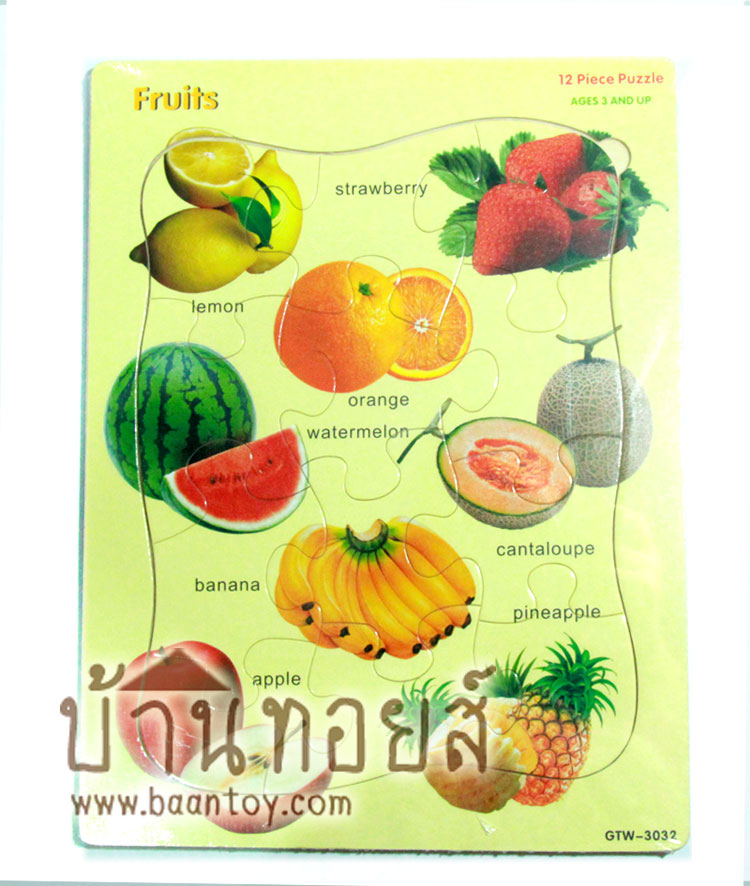 กระดานจิ๊กซอว์ไม้ภาพตัดต่อรูปผลไม้