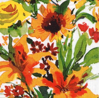 แนวภาพสีสด ดอกไม้เต็มแผ่น กระดาษแนพกิ้นสำหรับทำงาน เดคูพาจ Decoupage Paper Napkins มีภาพ 4 บล๊อค ขนาด 33X33cm