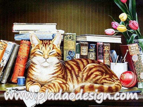 กระดาษสาพิมพ์ลาย สำหรับทำงาน เดคูพาจ Decoupage แนวภาำพ น้องแมวลายสวย นอนหลับตาพริ้ม เชิดๆเริ่ดๆ บนชั้นวางหนังสือ