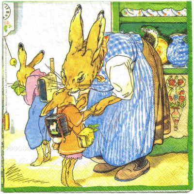 แนวภาพการ์ตูน ครอบครัวกระต่าย ภาพโทนสีเชรบง เป็นภาพ 4 บล๊อค ลายไม่ซ้ำ กระดาษแนพกิ้นสำหรับทำงาน เดคูพาจ Decoupage Paper Napkins ขนาด 33X33cm